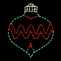 LED Ornament Oval Drop - Green/Red