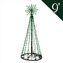 LED 9' Tree of Lights - Green