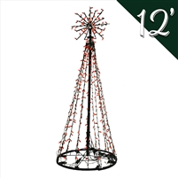 LED 12' Tree of Lights - Red