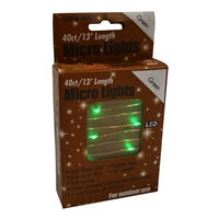 13' Micro Lights LED 40 - Copper Wire/Green - (Qty 24)