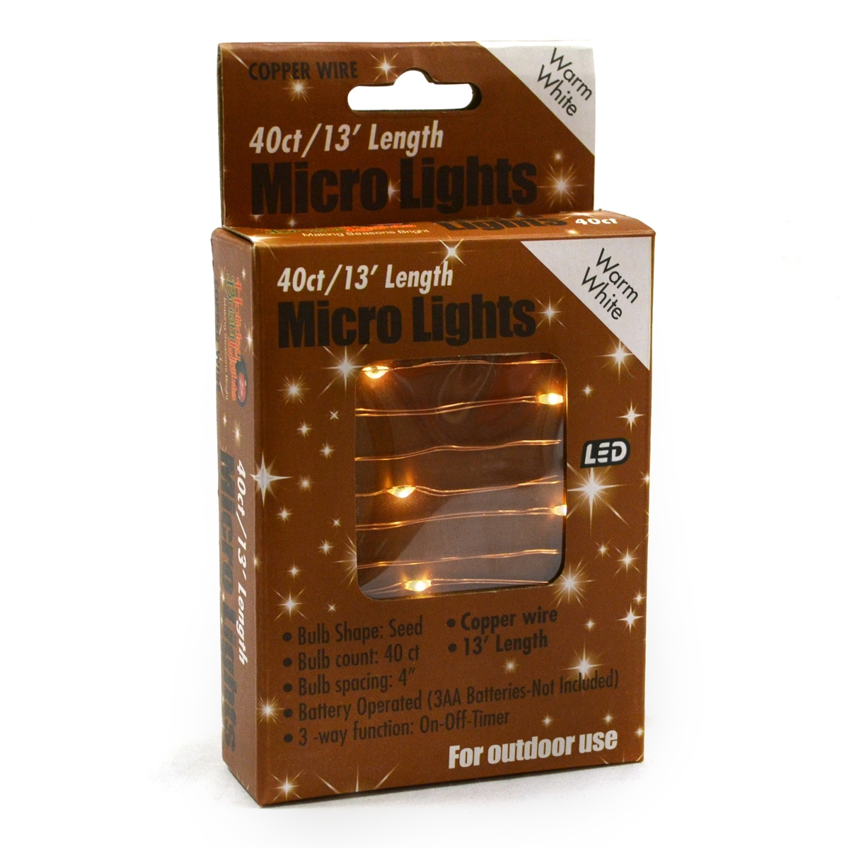 13\' Micro Lights LED 40 - Copper Wire/WW - (Qty 24)