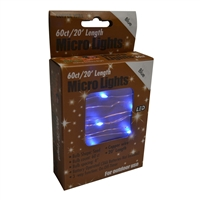 20' Micro Lights LED 60 - Copper Wire/Blue - (Qty 24)