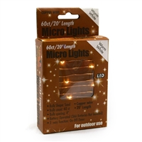 20' Micro Lights LED 60 - Copper Wire/WW - (Qty 24)