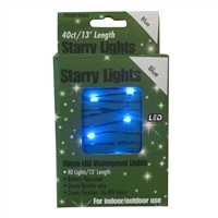 13' Micro Lights LED 40 - Green Wire/Blue - (Qty 24)