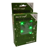 13' Micro Lights LED 40 - Green Wire/Green - (Qty 24)