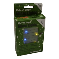 13' Micro Lights LED 40 - Green Wire/Multi - (Qty 24)