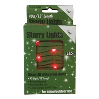 13' Micro Lights LED 40 - Green Wire/Red - (Qty 24)