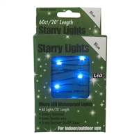 20' Micro Lights LED 60 - Green Wire/Blue - (Qty 24)