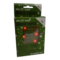 20' Micro Lights LED 60 - Green Wire/Red - (Qty 24)