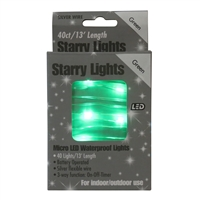 13' Micro Lights LED 40 - Silver Wire/Green - (Qty 24)