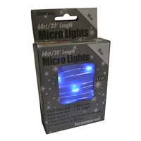 20' Micro Lights LED 60 - Silver Wire/Blue - (Qty 24)