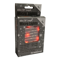 20' Micro Lights LED 60 - Silver Wire/Red - (Qty 24)