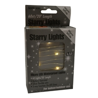 20' Micro Lights LED 60 - Silver Wire/WW - (Qty 24)