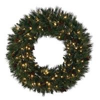 "Battery Operated Mixed Noble Wreath 24"" (Qty 4)"