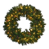 "Mixed Noble Wreath - Clear Incandescent - 48"" Hinged"