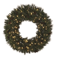 "LED Mixed Noble Wreath - Warm White - 48"" Hinged"