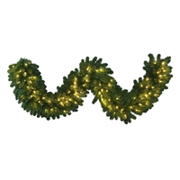 "LED 9' x 18"" Olympia Pine Garland - Warm White (Qty 4)"