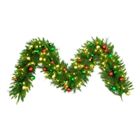 "LED Ornament Mixed Pine Garland 9' x 16""- Warm White - (Qty 4)"