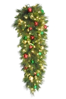 "LED Ornament Mixed Pine Teardrop 48"" - Warm White - (Qty 2)"