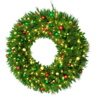 "LED Ornament Mixed Pine Wreath 48"" - Warm White"