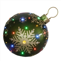 "18"" LED Jeweled Green Ball Snowflake Ornament"