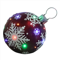 "18"" LED Jeweled Red Ball Snowflake Ornament"