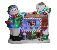 "32""H LED Lit Snowmen Countdown Clock w/ Music"
