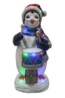 "36""H LED Penguin playing Drum"