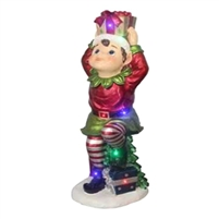 "37""H LED Pixie Elf Holding Gift on Head"