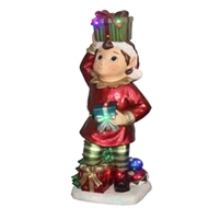 "37""H LED Pixie Elf Holding Gift on Head and in Hand"