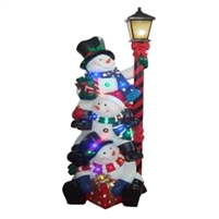 "49"" LED Stacking Snowmen w/ Street Lamp"