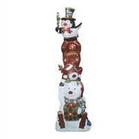 "72.5""H LED Lit Stacked Penguin/Reindeer/Polar Bear"