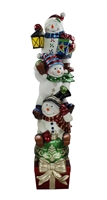 "73""H LED Lit Stacking Snowmen on Box"