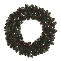 "LED Sierra Wreath 36"" Candy Cane - PW/Red (Qty 2)"