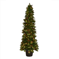 LED Noel Entryway Potted Tree 7.0' - Warm White