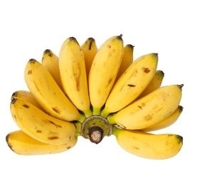 Baby Niños are short, chubby bananas about 3 inches long. They are green when unripe but will turn bright yellow when they are ready to eat, but may develop some black spots. They have a rich, sweet banana flavor with a soft, creamy texture.