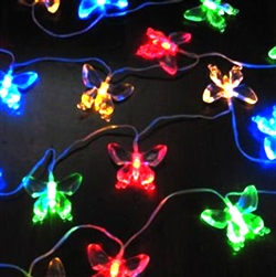 ALEKO® 20 LED Butterfly Solar Powered Decorating String Lights Butterfly, Multicolor
