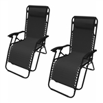 ALEKO 2FLCH-BK Outdoor Patio Foldable Chaise-Longue Leisure Pool Beach Chair, Black Color, Lot of 2