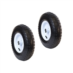 ALEKO 2WAP13 Smooth Pneumatic Replacement Wheels for Wheelbarrow 13 Inch (33 cm) Air FIlled Turf Tire for Hand Trucks and Lawn Carts, Set of 2, Black Tire White Rim
