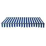 Retractable Patio Awning 10 x 8 Feet - Blue and White Stripes with Black Frame - ALEKO