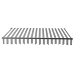 Retractable Patio Awning 12x10 Feet - Grey and White Stripes with Black Frame - ALEKO