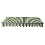 Retractable Patio Awning 12x10 Feet - Multi-Striped Green with Black Frame - ALEKO