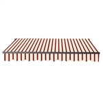 Retractable Patio Awning 12x10 Feet - Multi-Striped Red with Black Frame - ALEKO