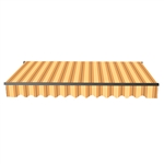 Retractable Patio Awning 12x10 Feet - Multi-Striped Yellow with Black Frame - ALEKO