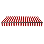 Motorized Retractable Black Frame Patio Awning 20 x 10 Feet - Red and White Stripes - ALEKO