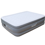 All Purpose Air Mattress with Flocked Oval Top and Built-In Pump - Queen Size - ALEKO
