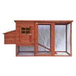 Multi Level Wooden Chicken Coop or Rabbit Hutch - 78 x 30 x 40 Inches - White Trim - ALEKO