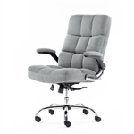 Upholstered Fabric Luxury Office Chair - Gray - ALEKO