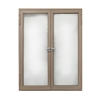 Aluminum Square Top Minimalist Glass-Panel Interior Double Door with Frame - 60 x 84 inches - Light Walnut - ALEKO
