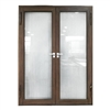 Aluminum Square Top Minimalist Glass-Panel Interior Double Door with Frame - 84 x 96 inches - Chestnut - ALEKO